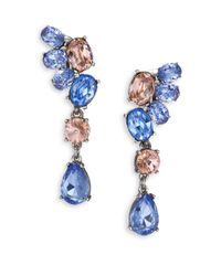 Oscar de la Renta - Blue Asymmetrical Crystal Clip-On Drop Earrings - Lyst