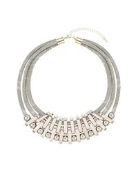 TOPSHOP - Metallic Multi Row Linked Snake Necklace - Lyst