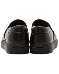 Versus - Black Studded Slip_on Sneakers - Lyst