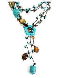 Aeravida | Blue Lariat Glam Turquoise- Tiger's Eye Wrap Around Necklace | Lyst