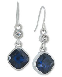 Carolee - Silver-tone Blue Crystal Double Drop Earrings - Lyst