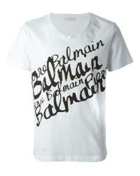 Balmain - White Writing Print T-Shirt for Men - Lyst