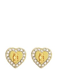 Juicy Couture | Metallic Jc Pave Heart Stud Earrings | Lyst