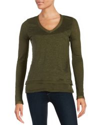 Sam Edelman | Green Layered-effect Chiffon-trimmed Sweater | Lyst