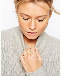 ASOS - Metallic Rose Gold Plated & Brass Open Faux Pearl Rings - Lyst