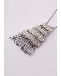 Missguided - Metallic Tiered Longline Necklace Silver - Lyst