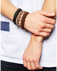 ASOS | Bracelet Pack In Black And Brown Leather for Men | Lyst