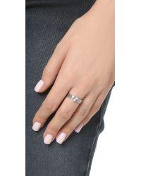 Gabriela Artigas - White Geometric Diamond Set Of 3 Rings - Lyst