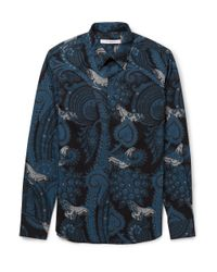 Givenchy | Blue Paisley And Moth-Print Cotton Shirt for Men | Lyst