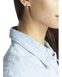 MFP MariaFrancescaPepe | Metallic 23Kt Gold Plated Spike Hoop Earrings | Lyst