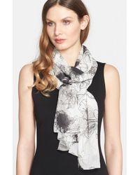 St. John - Gray Floral Print Silk Scarf - Lyst