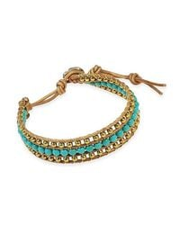 Aeravida | Blue Bedazzling Belle Turquoise And Brass Nude Leather Bracelet | Lyst