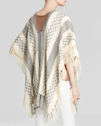 Free People - White Poncho - Weave Pattern - Lyst