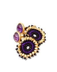 Astley Clarke Purple 18Ct Yellow Gold Vermeil Calypso Amethyst Sonatina Drop Earrings - For Women