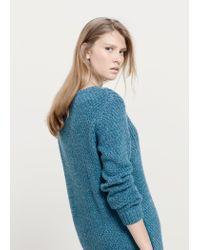 Violeta by Mango - Blue Zip Knit Sweater - Lyst