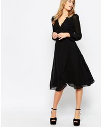 ASOS - Purple Midi Dress With Blouson Sleeves And Wrap Front - Lyst