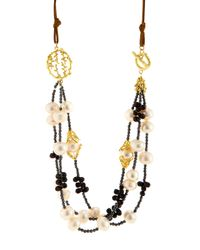 Indulgems | Multicolor Layered White Pearl Pussywillow Statement Necklace | Lyst