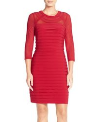 Adrianna Papell - Red Illusion Pleated Jersey Sheath Dress - Lyst