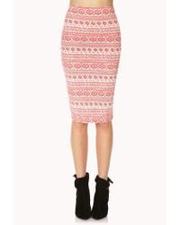 Forever 21 - Pink Bold Tribal Print Midi Skirt - Lyst