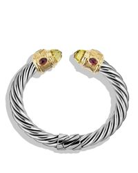 David Yurman | Metallic Renaissance Bracelet With Lemon Citrine, Blue Topaz, Rhodalite Garnet And Gold | Lyst