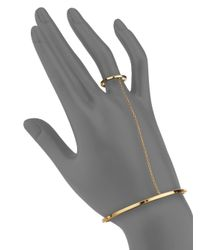 Gorjana - Metallic Zoe 18k Goldplated Attached Bracelet & Ring - Lyst