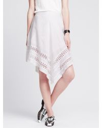 Banana Republic | White Eyelet-hem Angled Skirt | Lyst