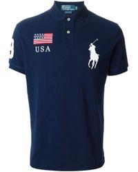 Polo Ralph Lauren Blue Logo Patch Embroidery Polo Shirt for men