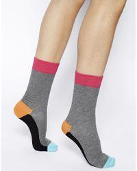 Happy Socks Pink Colour Block Socks