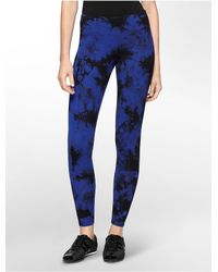 Calvin Klein - Blue White Label Performance Tie Dye Cotton Stretch Leggings - Lyst