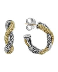 Lagos - Metallic 18K Gold & Sterling Silver Soiree Twisted Hoop Earrings - Lyst