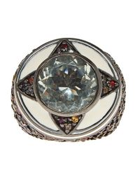 M.c.l - Brown Silver Multicoloured Sapphire Ring - Lyst