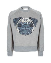 Juun.J - Gray Embroidered Pug Sweater for Men - Lyst