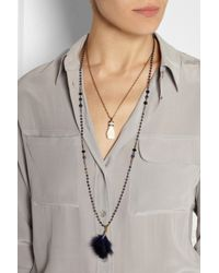 Isabel Marant | White Set Of Two Gold-Tone, Bone, Feather And Crystal Necklaces | Lyst