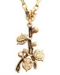 Oscar de la Renta - Metallic Faux Pearlembellished Coral Necklace - Lyst