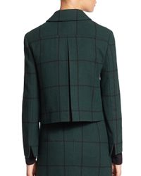 Akris Punto - Black Windowpane Cropped Wool Jacket - Lyst