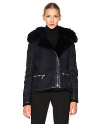 Yves Salomon - Blue Raccoon Zip Jacket - Lyst