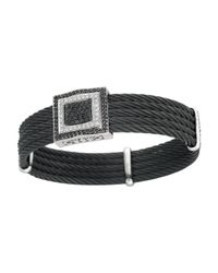 Charriol - Black Fiverow Two Tone Diamond Square Station Cable Bracelet - Lyst