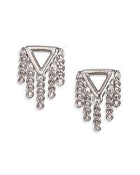 Marc By Marc Jacobs - Metallic Beat It Pointer Fringe Stud Earrings/silvertone - Lyst
