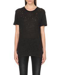 IRO | Black Clay Linen-jersey T-shirt | Lyst
