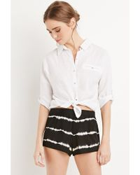 Forever 21 | Black Tie-dye Striped Shorts | Lyst