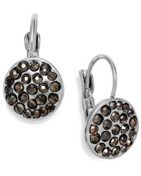 INC International Concepts | Metallic Silver-tone Crystal Disc Leverback Earrings | Lyst