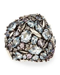 Alexis Bittar Fine Metallic Cool Heather Marquise Multistone Cluster Dome Ring with Diamonds