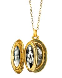 Monica Rich Kosann | Yellow Pave Diamond Satin Finish 4 Image Locket Necklace | Lyst