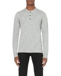 Rag & Bone | Metallic Henley Cotton-jersey Top - For Men for Men | Lyst
