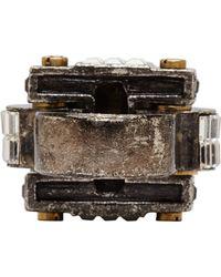 Lanvin - Metallic Gunmetal Geometric Crystal Ring - Lyst