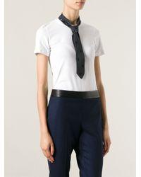 Brunello Cucinelli White Tie Detail T-Shirt