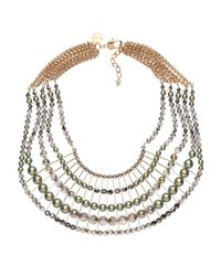 Nadia Minkoff - Statement Bib Necklace Green - Lyst