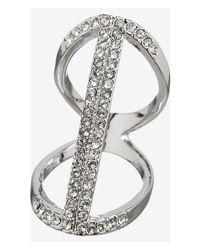 Express - Metallic Floating Pave Bar Ring - Lyst