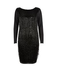 River Island - Black Beaded Tassel Bodycon Dress - Lyst