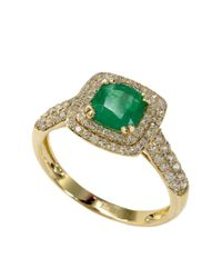 Effy | Green Emerald Envy 14k Yellow Gold Emerald And Diamond Ring | Lyst
